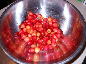 Pitted fresh cherries